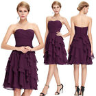 Short Chiffon Bridesmaid Prom Gown Formal Evening Prom Party Cocktail Mini Dress