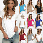 Summer Womens Sexy V Neck Lace UP T-Shirt Short Sleeve Loose Tops  UK sz 6-14