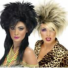 Womens 80s Punk Rock Wild Child Mullet Big Hair Spikey Fancy Dress Costume Wig