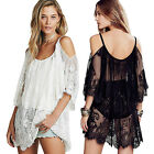 Sexy Women Spaghetti Strap Lace Cover Up Wrap Blouse Beach Night Club Mini Dress