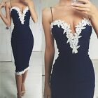 Womens Sexy Bandage Lace Deep-V Dress Evening Party Cocktail Short Mini Dress
