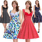 Retro Vintage Evening Party Dress 50s Pinup Swing Prom Cocktail Flower Dot Mini