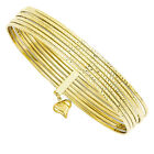 14k Yellow Gold 1mm Wide Simple Polished and Textured Bangle Bracelet