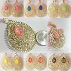 "CLIP On Luminous Glow Teardrop Rhinestone 2-1/4""L Non-Pierced Gold Tone Earrings"