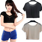 Women Sexy Clairvoyant Outfit Sheer Mesh Party T-shirt Short Sleeve Midriff