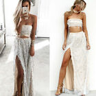 Women 2pcs Sequined Tassel Striped Tops+Skirt Evening Party Cocktail Club Dress