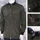 4Bidden Zip Up Long Length Bomber Jacket Khaki Green