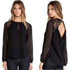 Women Summer Casual long sleeves Chiffon Tee T Shirt Blouse Loose Tops plus size