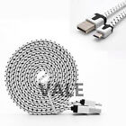 Durable Fabric Braided Flat Micro USB Data Sync Charging Cable For Cell Phones