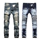 France Style Men Moto Biker Jeans Straight Slim Fit Denim Pa