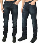 New Mens Foray Regular Fit Marble Jeans Designer Dark Blue Denim Pants Trousers