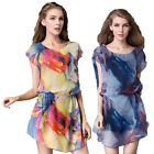 Summer New Short Sleeved Chiffon Shirt Dress Women Fashion Printed Fashion