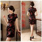 Junoesque Chinese Women's Silk Saitn Mini Dress Cheongsam Black/red SZ S - 6XL