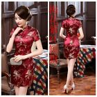 Junoesque Chinese Women's Silk Saitn Mini Dress Cheongsam Red SZ S - 6XL