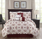 7 Piece Charming Taupe/Burgundy/Ivory Print Comforter Set