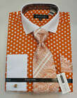 New Avanti Uomo Fashion Dress Shirt Orange/White Polka Dots. DN47M