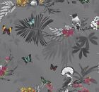 Arthouse Mystic Forest Wallpaper Glitter Exotic Birds Butterfly Floral 664800