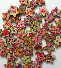 15mm WOODEN PATTERNED STAR 2-HOLE BUTTONS CRAFT SEWING SCRAPBOOK - VAR QTY