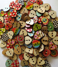 MIXED12.5mm WOODEN PATTERNED HEART 2-HOLE BUTTONS CRAFT SEWING SCRAPBOOK/VAR QTY