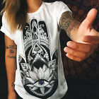Women Loose Short Sleeve Cotton Casual Blouse Shirt Tops Summer T-shirt White