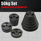 50KG CAST IRON WEIGHT PLATE SET - ENERGETICS TRIPLE HANDLE EZ GRIP WEIGHT PLATES