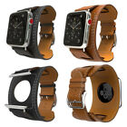 For Apple Watch iWatch 38mm/42mm Genuine Leather Cuff Strap Bracelet Watchband