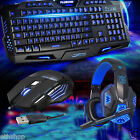 Led Gaming Keyboard, Lighting USB Wired Mouse & Stereo 3.5mm Mic Headphone New