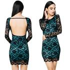 Party Evening Cocktail Fashion Women Summer Lace Long Sleeve Mini Dress O1I2