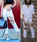 White Denim Ripped Frayed Destroyed Rips Tears Slim Fit Boyfriend Jeans Hot NWT