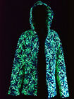 "Schwarzlicht Neon Hooded Zip-Jacke ""Sea of Green Weed"" Goa Blacklight"