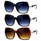 SA106 Womens Metal Rhinestone Jewel Hinge Oversize Butterfly Sunglasses