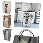 Laundry Bag Basket Hamper Folding Dirty Washing Sack Clothes Storage Bin Carry
