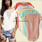 New Women Casual Chiffon Blouse Short Sleeve Shirt T-shirt Summer Blouse Tops