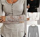 Fashion Women Long Sleeve Shirt Casual Lace Blouse Loose Cotton Top T Shirt