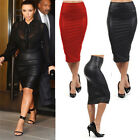 Women Wet Look Faux Leather High Waist Pencil Bodycon Dress Midi Skirts Unique