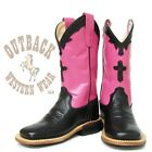 Old West Kids Pink Cross Square Toe Boots BSC1808