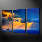 BOAT SUNSET SEASCAPE 3 PANELS CANVAS PRINT READY TO HANG