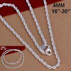 Newest 4MM 925 Silver Chain Men Necklace 16-30 inch