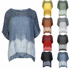 Womens Italian Tie Dye Sequin Star Hem Ladies Plus Baggy Tunic Loose Top UK14-20