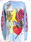 New CHRISTIAN AUDIGIER ED HARDY WOMENS PLATINUM ROSE HEART B THERMAL SHIRT NWT
