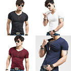 Men's High Elastic Tight T-shirt V-neck Shirt Short Sleeve Tops Sell In Crowds