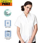 Ladies Womens Shirts Blouse White Oxford Business Office Short Sleeve Top