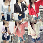 New Women Shawl Long Sleeve Tops Blouse Shirt Slim Wild Short Cardigan Sandy