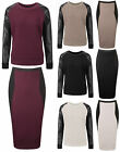Womens PU Quilted Jumper Sweat Top Ladies Bodycon Quilted Midi Skirt Co-ord Set