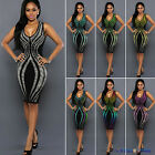 Womens Plunge Neck Sleeveless Cocktail Party Evening Bodycon Mini Pencil Dress