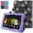 For Amazon Kindle Fire HD 7 Inch 2013 Diamond Bling Pu Leather Stand Case Cover