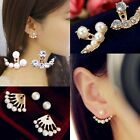 2Pcs Fashion Women Elegant Crystal Rhinestone Pearl Ear Stud Earrings  Vogue