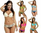 Ladies Underwired Deep Plunge Bikini Set with Diamantes and Embroidered Belt