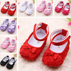 Cute Pure Color Roses Flowers Knot Soft Sole Baby Girls Princess Toddler Shoes