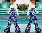 New Women Ladies Floral Print Palazzo Trousers Summer Wide Leg Casual Long Pants
